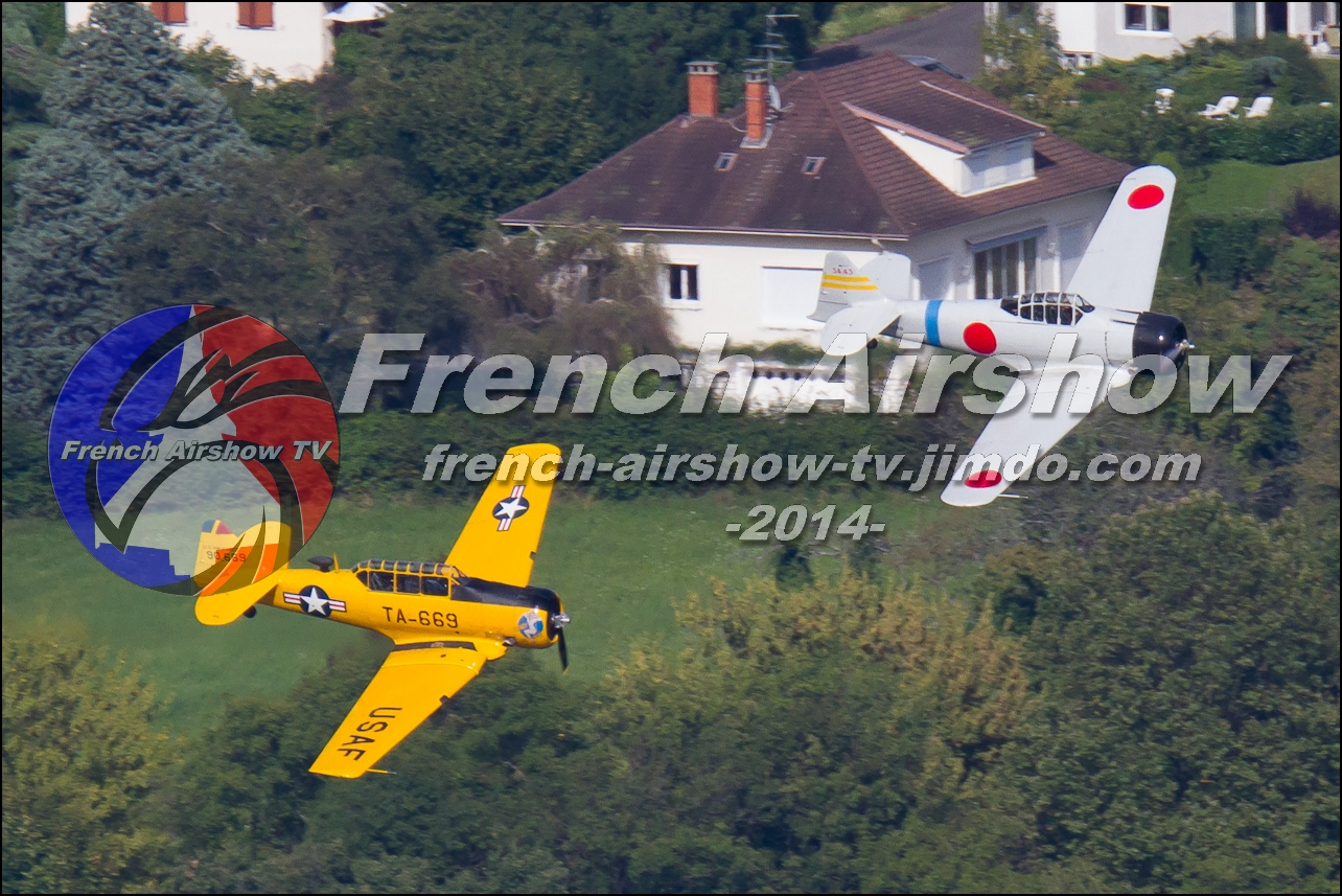 T-6 & T-6 Zero dogfight ,skyline-events.fr, Meeting Aerien Aix les Bains 2014, meeting aerien bourget du lac 2014
